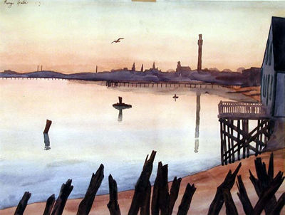 Provincetown Harbor, watercolor by George Yater